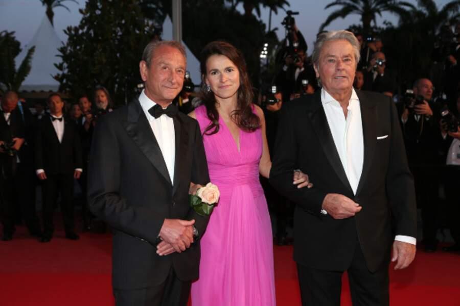 Alain Delon, avec Bertrand Delanoë et Aurélie Filippetti