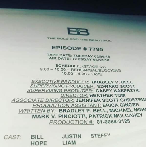 Fière, Heather Tom a partagé le script de l'épisode d'Amour, gloire et beauté qu'elle a réalisé.