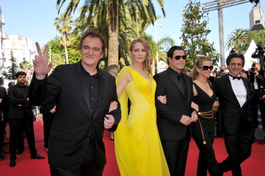 Quentin Tarantino, Uma Thurman, John Travolta, Kelly Preston, Lawrence Bender