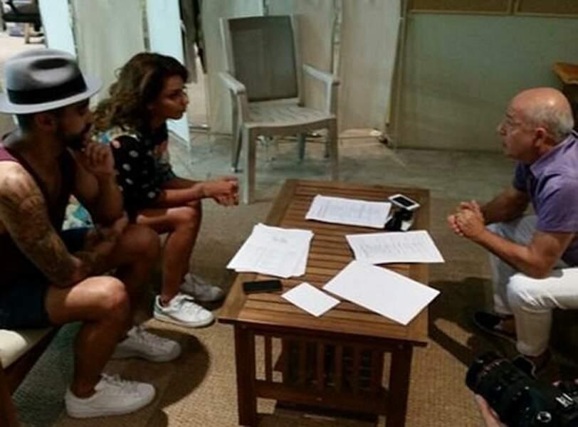 Le couple répète avec Richard Guedj, le directeur des comédiens
