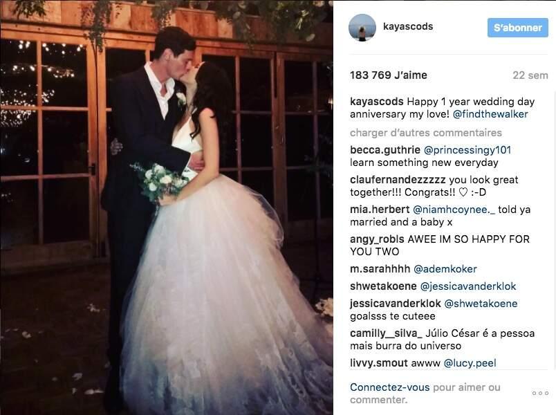 Pour fêter les 1 an de leur mariage, elle a publié cette photo de leurs noces