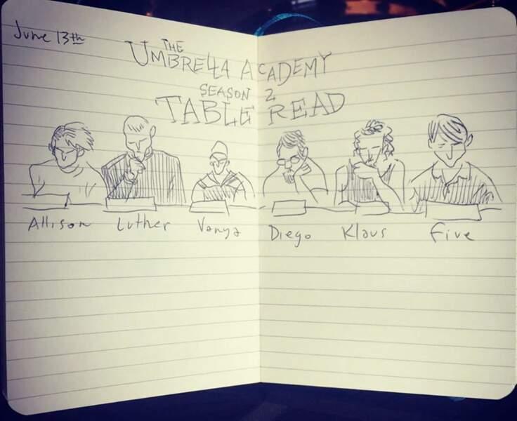 Quand elle ne joue pas, Emmy Raver-Lampman dessine… les répétitions de la saison 2 d'Umbrella Academy