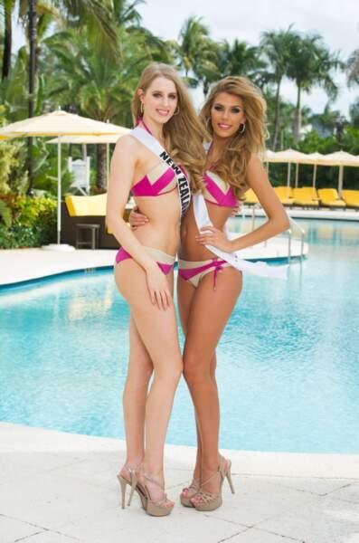 En bikini, avec sa copine Miss Nouvelle Zélande