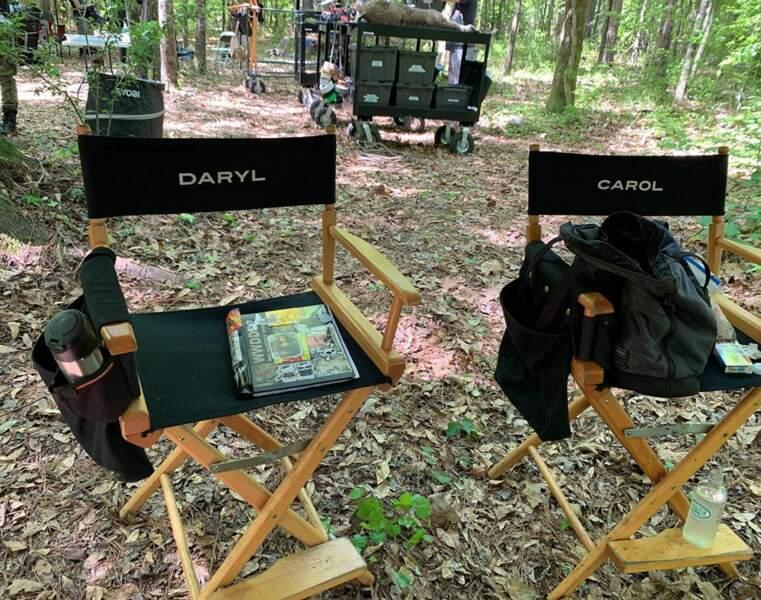 Chut, ça tourne sur le plateau de Walking Dead : Norman Reedus et Melissa McBride sont dans les bois