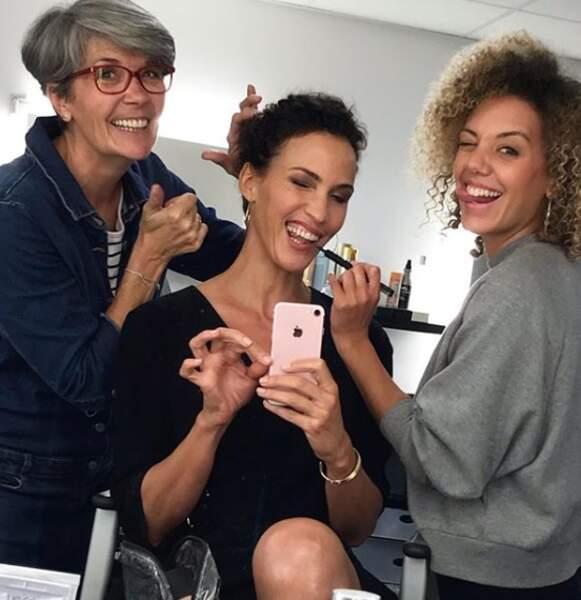 De son côté, Linda Hardy (alias Clémentine) s'éclate au make-up avant ses prises !