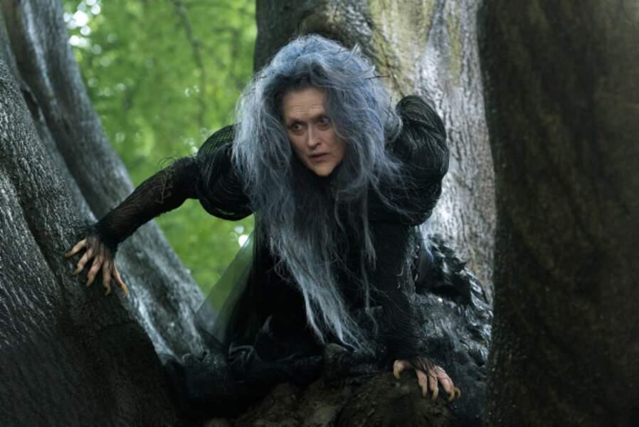 Meryl Streep grimée en sorcière dans Into the Woods (2015)