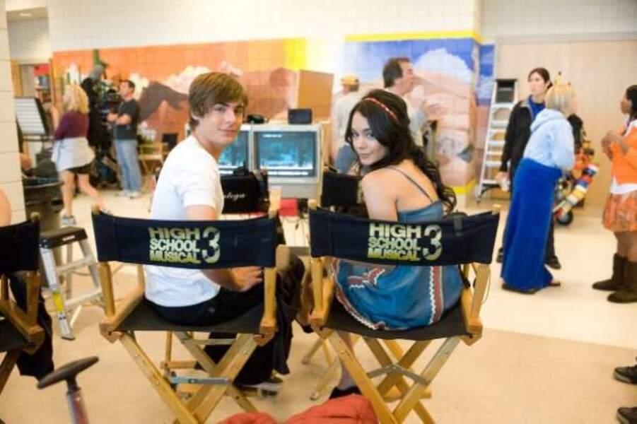 Vanessa Hudgens et Zac Efron sur le tournage de High School Musical 3 (2008)