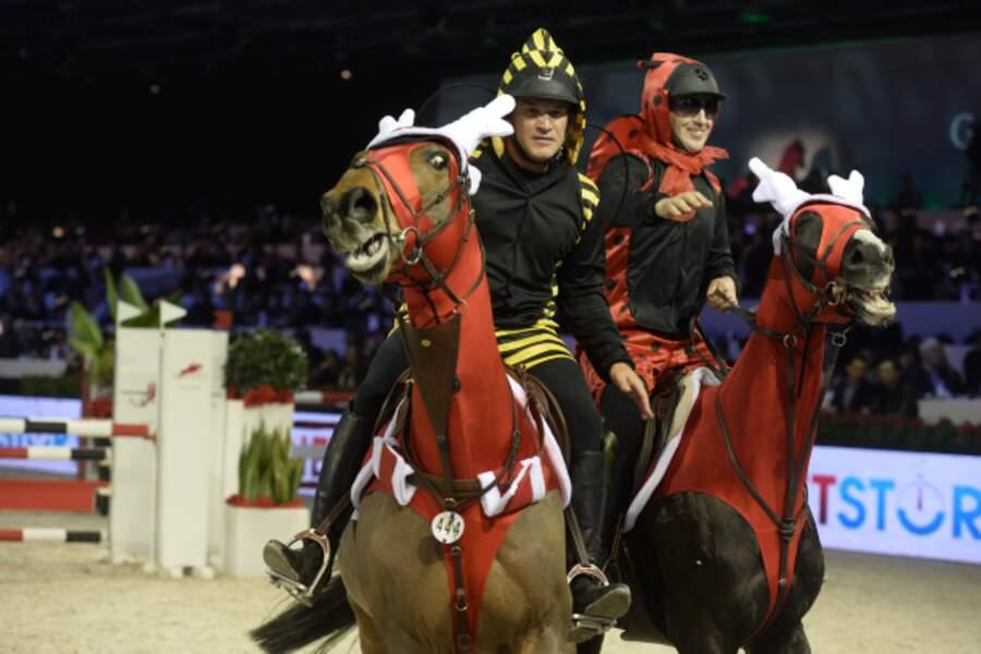 Benjamin Castaldi et Roger Yves Bost à cheval