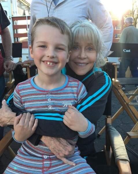 Iain Armitage et Jane Fonda sur le tournage de Young Sheldon