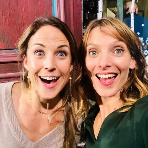 Aurélie Vaneck et Elodie Varlet hilares sur le tournage de Plus belle la vie